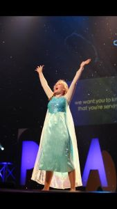 "This is me as Princess Elsa performing a parody musical number called ""Let You Know""."