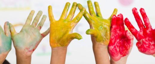 kids hands paint